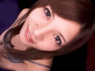 ハーフ顔の激カワお姉さんが優しくフェラ&手コキ!糊を顔にぶっかけられたみたいに大量ザーメン顔射画像